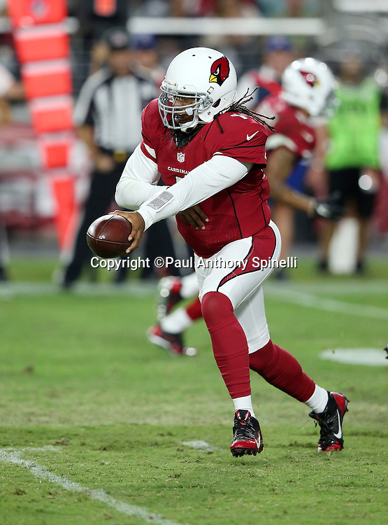 Arizona Cardinals quarterback Phillip Sims (1) hands off the ball on a running play during the 2015 NFL preseason football game against the San Diego Chargers on Saturday, Aug. 22, 2015 in Glendale, Ariz. The Chargers won the game 22-19. (©Paul Anthony Spinelli)
