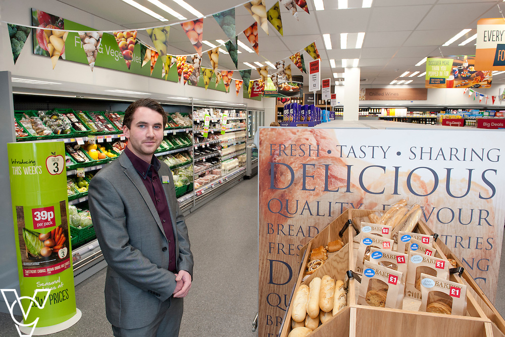 Pictured is store manager Henry Gibbons<br /> <br /> Lincolnshire Co-operative food store, Long Bennington, Lincolnshire.<br /> <br /> Date: September 28, 2015