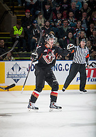 KELOWNA, CANADA - FEBRUARY 28: Kenton Helgesen #3 of Calgary Hitmen celebrates a goal during the second period against the Kelowna Rockets on February 28, 2015 at Prospera Place in Kelowna, British Columbia, Canada.  (Photo by Marissa Baecker/Shoot the Breeze)  *** Local Caption *** Kenton Helgesen;