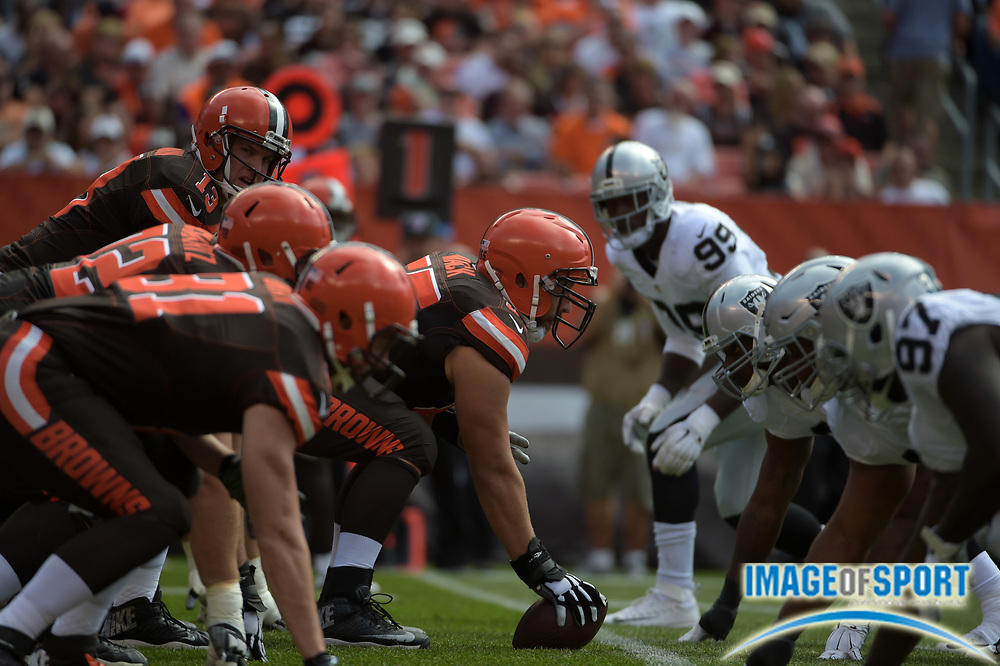 Sep 27, 2015; Cleveland, OH, USA; General view of the line of scrimmage as Cleveland Browns center Alex Mack prepares to snap the ball to quarterback Josh McCown against the Oakland Raiders in a NFL game at FirstEnergy Stadium.