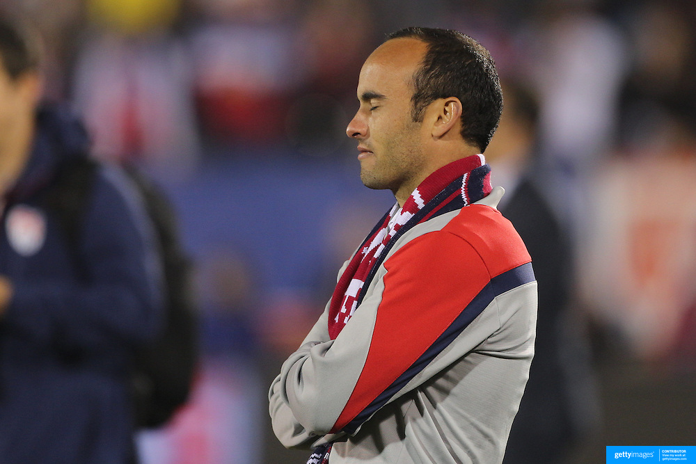 Landon Donovan, USA, watches his career highlights  shown on screen at his farewell match during the USA Vs Ecuador International match at Rentschler Field, Hartford, Connecticut. USA. 10th October 2014. Photo Tim Clayton