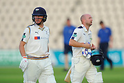 Gary Ballance of Yorkshire and Adam Lyth of Yorkshire walk back to the pavilion at the end of the second days play in the Specsavers County Champ Div 1 match between Hampshire County Cricket Club and Yorkshire County Cricket Club at the Ageas Bowl, Southampton, United Kingdom on 1 September 2016. Photo by Graham Hunt.