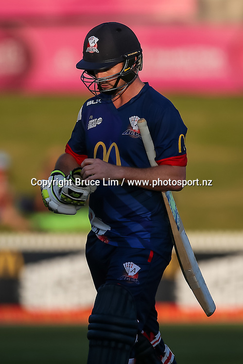 Auckland Aces' Colin Munro departs during the McDonalds Super Smash T20 cricket match - Knights v Aces played at Seddon Park, Hamilton, New Zealand on Saturday 17 December.<br /> <br /> Copyright photo: Bruce Lim / www.photosport.nz