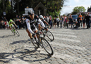 France April 13th 2014: Fabian Cancellara, Trek, Zdenek Stybar, Omega Pharma Quickstep, and Peter Sagan pass through Gruson on the way to the finish in Roubaix Velodrome. Copyright 2014 Peter Horrell