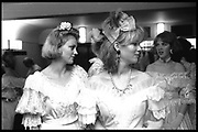 Suzannah Starkey & Zara Legge-Bourke getting ready for the NSPCC Centenary Year Dress Show. Savoy Hotel. 16 April 1984. Film 84254f3<br /> © Copyright Photograph by Dafydd Jones. 66 Stockwell Park Rd. London SW9 0DA. Tel 0171 733 0108