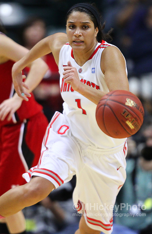 March 03, 2012; Indianapolis, IN, USA; Ohio State Buckeyes forward Kalpana Beach (1) chases down a loose ball against the Nebraska Cornhuskers during the semifinals of the 2012 Big Ten Tournament at Bankers Life Fieldhouse. Mandatory credit: Michael Hickey-US PRESSWIRE