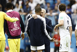 July 6, 2018 - Nizhny Novgorod, Russia - Didier Deschamps, Kylian Mbappe during 2018 FIFA World Cup Russia Quarter Final match between Uruguay and France at Nizhny Novgorod Stadium on July 6, 2018 in Nizhny Novgorod, Russia. (Credit Image: © Mehdi Taamallah/NurPhoto via ZUMA Press)