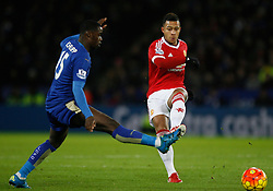 Memphis Depay of Manchester United (R) in action  - Mandatory byline: Jack Phillips/JMP - 07966386802 - 28/11/2015 - SPORT - FOOTBALL - Leicester - King Power Stadium - Leicester City v Manchester United - Barclays Premier League