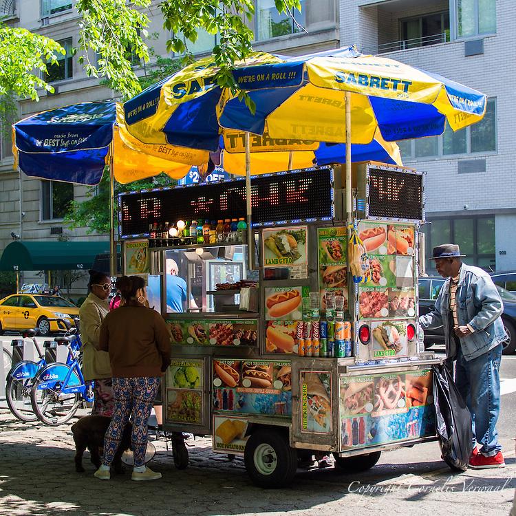Sabrett hotdog food cart along Fifth Avenue at 72nd street, New York City.