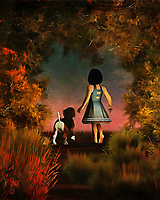 The path beckons Amy and her beagle Buddy forward. Where are they going to go? What is beyond the moving, gentle scene depicted here? We can't say for certain. We can only watch them looking towards whatever the late summer horizon offers. Behind them we can see stunning splashes of nature. This is piece that shows the soft beauty of friendship. These two simply know to follow the other. They are truly two of a kind, and they are the very best of friends. This piece is available as wall art, t-shirts, or through interior products. .<br />