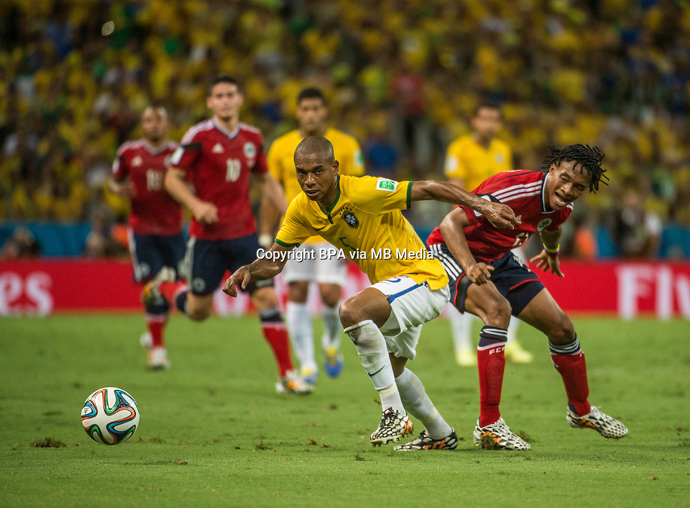 Fernandinho. Brazil v Colombia, quarter-final. FIFA World Cup Brazil 2014. Castelao stadium, Fortaleza. 4 July 2014.