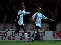 Photo: Glyn Thomas.<br />Port Vale v Southend United. Coca Cola League 1.<br />26/11/2005.<br />Port Vale's Michael Husbands (R) celebrates after scoring his side's second goal.