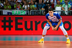 Klemen Cebulj #18 (SLO) during volleyball match between National teams of Slovenia and Russia in quaterfinals of 2019 CEV Volleyball Men's European Championship in Ljubljana, on September 23, 2019 in Arena Stozice. Ljubljana, Slovenia. Photo by Matic Klansek Velej / Sportida
