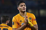 Raul Jimenez of Wolverhampton Wanderers scores and celebrates the first goal of the game during the Europa League match between Wolverhampton Wanderers and Slovan Bratislava at Molineux, Wolverhampton, England on 7 November 2019.