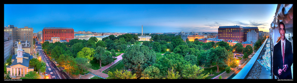 View of Layfayette Park, The White House, and Washington Monument in Washington, DC.  Image includes Barack Obama cut-out left on terrace of The Hay Adams hotel after a party several months before he was elected President of The United States. Print Sizes (inces): 15x4.5; 24x6.5; 36x10; 48x13.5; 60x17; 72x20.