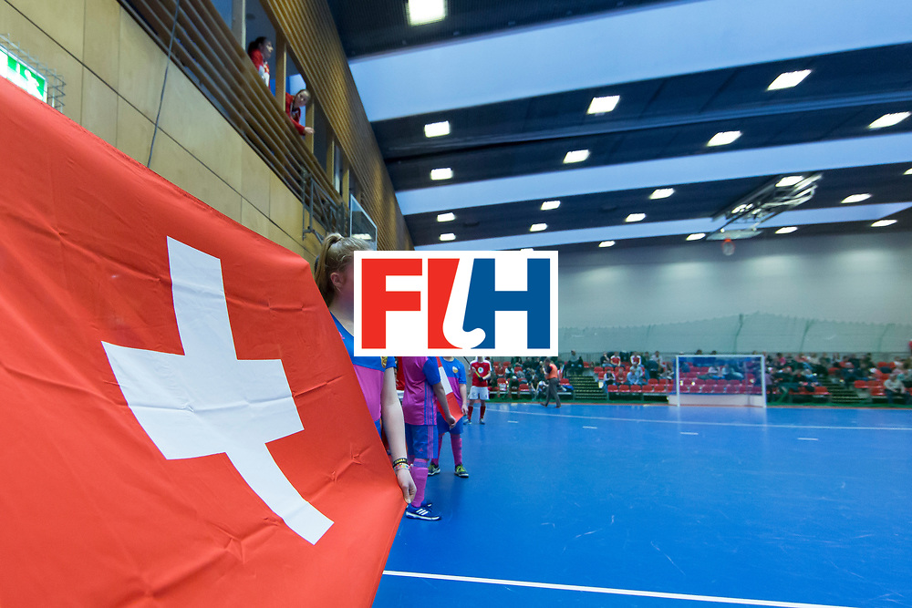 Hockey, Seizoen 2017-2018, 09-02-2018, Berlijn,  Max-Schmelling Halle, WK Zaalhockey 2018 MEN, Austria - Switzerland 2-2, Flag Switserland