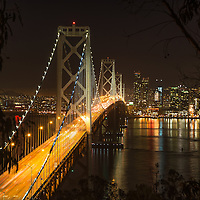Night shot of the beautiful Bay bridge in San Fran, shot on long exposure.