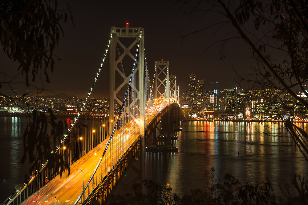 Night shot of the beautiful Bay bridge in San Fran, shot on long exposure.