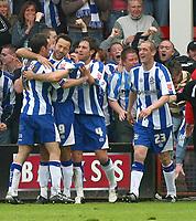 Photo: Dave Linney.<br />Walsall v Huddersfield Town. Coca Cola League 1. 22/04/2006.Huddesfield's Pawel Abbott(9) makes it 2-0
