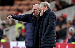 Crystal Palace manager Roy Hodgson (right) and assistant manager Ray Lewington watch the action from the side line during the Carabao Cup, Fourth Round match at the Riverside Stadium, Middlesbrough.