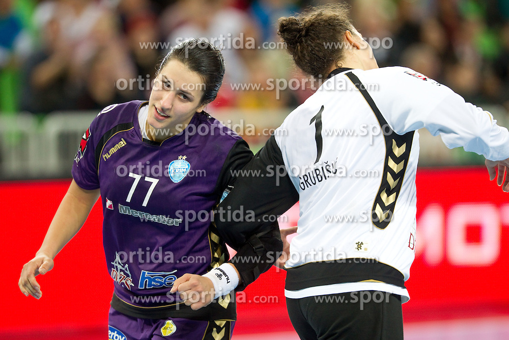 Andrea Lekic dance with Jelena Grubisic of Krim during handball match between RK Krim Mercator (SLO) and Zvezda Zvenigorod (Rus) in 2nd Round of Women Champions League, on October 16, 2010 in SRC Stozice, Ljubljana, Slovenia. Krim defeated Zvezda 37-32. (Photo By Vid Ponikvar / Sportida.com)