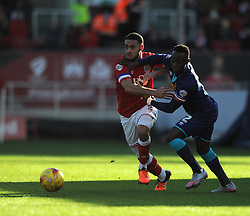 Derrick Williams of Bristol City tussles with Moses Odubajo of Hull City - Mandatory by-line: Paul Knight/JMP - Mobile: 07966 386802 - 21/11/2015 -  FOOTBALL - Ashton Gate Stadium - Bristol, England -  Bristol City v Hull City - Sky Bet Championship