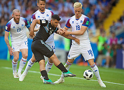 MOSCOW, RUSSIA - Saturday, June 16, 2018: Argentina's Sergio Aguero is tackled by Iceland's Kari Arnason and Hordur Magnusson (right) during the FIFA World Cup Russia 2018 Group D match between Argentina and Iceland at the Spartak Stadium. (Pic by David Rawcliffe/Propaganda)