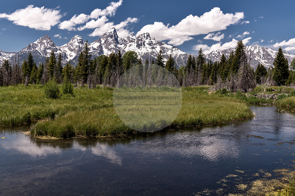 Mount Moran and the Grand Teton mountains reflected on the Snake River at Schwabacher in the Grand Teton National Park near Moose, Wyoming.
