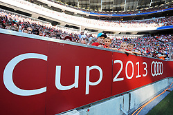 01.08.2013, Allianz Arena, Muenchen, Audi Cup 2013, FC Bayern Muenchen vs Manchester City, im Bild Audi Cup 2013 --- AC Mailand vs Sao Paulo --- Allianz Arena Muenchen, Spiel um Platz 3, 01.08.2013, Zuschauer und Werbebande beim Audi Cup 2013 // during the Audi Cup 2013 match between FC Bayern Muenchen and Manchester City at the Allianz Arena, Munich, Germany on 2013/08/01. EXPA Pictures © 2013, PhotoCredit: EXPA/ Eibner/ Wolfgang Stuetzle<br /> <br /> ***** ATTENTION - OUT OF GER *****
