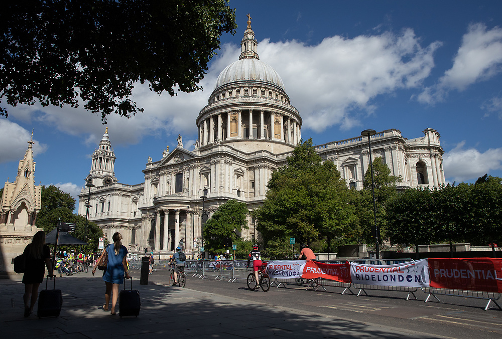The St Paul's Churchyard Festival Zone entrance. The Prudential RideLondon FreeCycle. Saturday 28th July 2018<br /> <br /> Photo: Ian Walton for Prudential RideLondon<br /> <br /> Prudential RideLondon is the world's greatest festival of cycling, involving 100,000+ cyclists - from Olympic champions to a free family fun ride - riding in events over closed roads in London and Surrey over the weekend of 28th and 29th July 2018<br /> <br /> See www.PrudentialRideLondon.co.uk for more.<br /> <br /> For further information: media@londonmarathonevents.co.uk