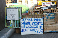 Occupy Dame Street protest at the Central Bank in Dublin Ireland