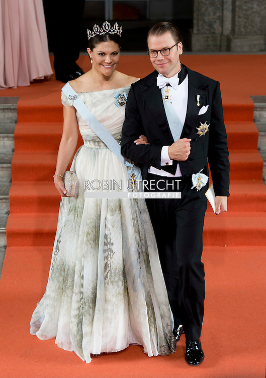 13-6-2015 STOCKHOLM   Crown Princess Victoria and Prince Daniel arrival of  for  .The wedding of Prince Carl Philip and Sofia Hellqvist  at the  Royal palace in Stockholm .COPYRIGHT ROBIN UTRECHT