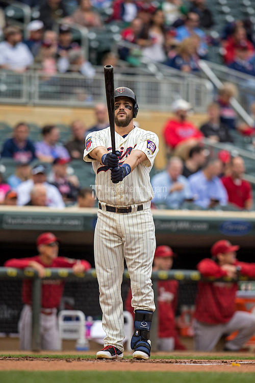MINNEAPOLIS, MN- SEPTEMBER 24: Trevor Plouffe #24 of the Minnesota Twins bats against the Arizona Diamondbacks on September 24, 2014 at Target Field in Minneapolis, Minnesota. The Twins defeated the Diamondbacks 2-1. (Photo by Brace Hemmelgarn) *** Local Caption *** Trevor Plouffe