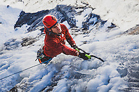 Chris Thomas making his way of the first pitch of Bone Collector, M5, WI5, III, during the first winter ascent, Little Cottonwood Canyon, Utah.