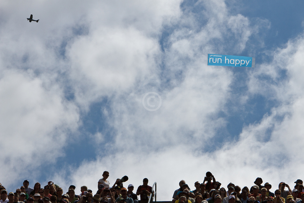 Olympic Trials Eugene 2012: Brooks banner in the sky Run Happy