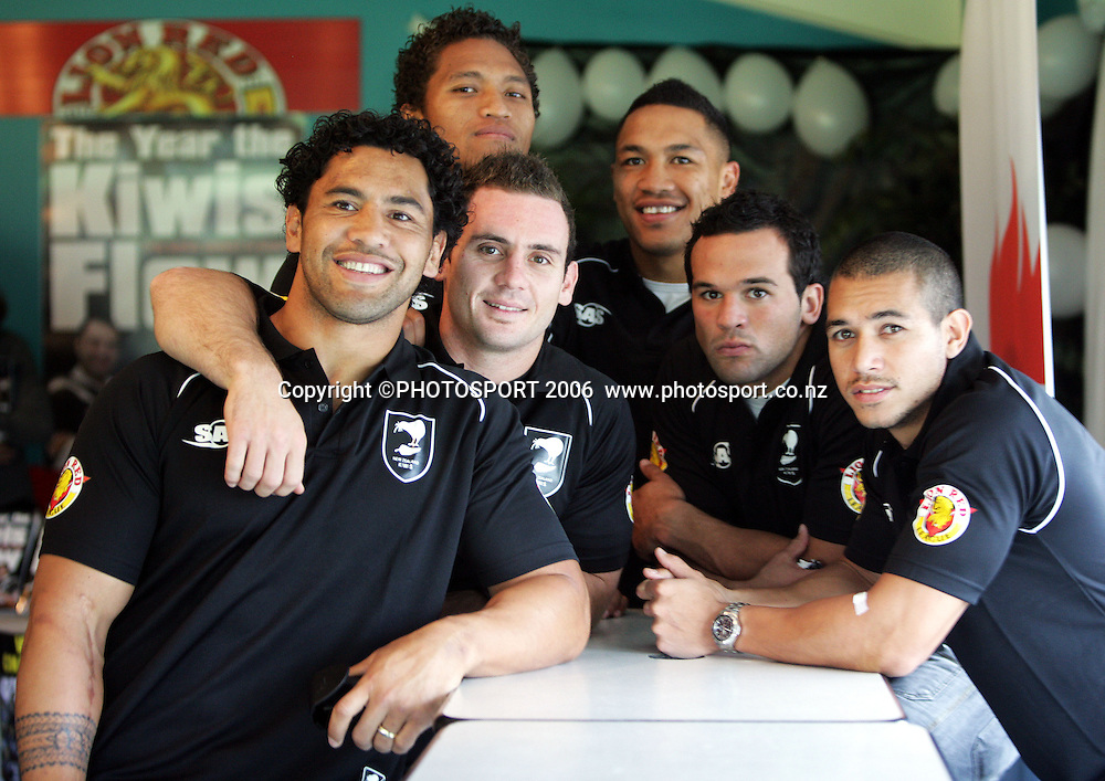 Kiwi players, (L-R) Ruben Wiki, Lance Hohaia, Manu Vatuvei, Clinton Toopi, Louis Anderson and Brent Webb at the launch of Peter Leitch's book, &quot;The Year the Kiwis Flew&quot; at Mangare Easten Rugby League Club, Auckland, New Zealand on Wednesday 26 April, 2006. Photo: Hannah Johnston/PHOTOSPORT<br /><br /><br />260406
