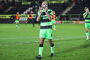 Man of the match Forest Green Rovers Farrend Rawson(6) during the EFL Sky Bet League 2 match between Forest Green Rovers and Crewe Alexandra at the New Lawn, Forest Green, United Kingdom on 22 December 2018.