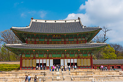 Seoul, Soth Korea--April 6, 2016  --Tourists visit a South Korean  Palace Complex in Seoul. Editorial Use Only.