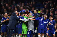 Football - 2018 / 2019 UEFA Europa League - Semi-Final, Second Leg: Chelsea (1) vs. Eintracht Frankfurt (1)<br /> <br /> Chelsea's Kepa Arrizabalaga celebrates with team mates after their 4-3 penalty shoot out victory after the scores finished 1-1 after extra time, at Stamford Bridge.<br /> <br /> COLORSPORT/ASHLEY WESTERN