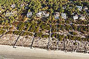 Aerial view of the luxury homes and private boardwalks to the beach in Kiawah Island, SC.