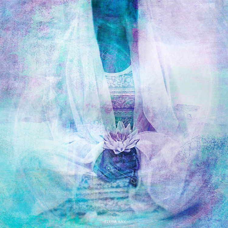 Feminine calming blue-violet divine woman in lotus blossom  meditation.