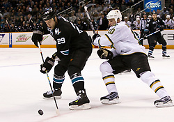 March 25, 2010; San Jose, CA, USA;  San Jose Sharks left wing Ryane Clowe (29) is defended by Dallas Stars left wing Brenden Morrow (10) during the first period at HP Pavilion. San Jose defeated Dallas 3-0. Mandatory Credit: Jason O. Watson / US PRESSWIRE