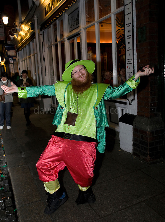 French man dressed as Leprechaun in Temple Bar, Dublin, St. Patrick's Day, 2009