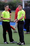 Umpires from left Aj Small and Hamish Ellis jack during the National Under 21 Hockey Tournament - Day 1, 7 May 2011, Alexander McMillan Hockey Centre Dunedin, New Zealand. Photo: Richard Hood/photosport.co.nz