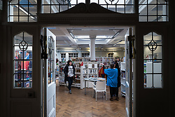 © Licensed to London News Pictures. 01/04/2016. London, UK. The entrance to the Carnegie Library in Herne Hill which is currently occupied by local residents in an effort to prevent its closure. Lambeth Council had planned to close the library last night (31st March) in order to turn it into a 'healthy living centre'. Photo credit : Rob Pinney/LNP