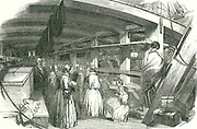 Scene between decks on an emigrant ship carrying poor needlewomen to Australia.  At this date skilled workers were given sponsored passages to emigrate to the colonies. From 'The Illustrated London News', 17 August 1850.