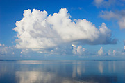 Cumulus clouds and calm water over reef on south shore of Molokai at Kapuaiwa Royal Coconut Grove;  Kaunakakai, Molokai, Hawaii.