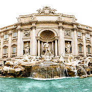 A panoramic shot of the famous Trevi Fountain in Rome, Italy.