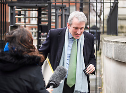 © Licensed to London News Pictures. 05/02/2019. London, UK. Secretary of State for Education DAMIAN HINDS avoids questions from a reporter as he leaves Downing Street via a back entrance following a cabinet meeting. British PM Theresa May is heading to Northern Ireland where she will meet with business leaders to re-assure them on Brexit issues and the EU withdrawal agreement. Photo credit: Ben Cawthra/LNP