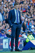 Rangers Manager Steven Gerrard happy with his teams performance so far during the Ladbrokes Scottish Premiership match between Rangers and Celtic at Ibrox, Glasgow, Scotland on 12 May 2019.